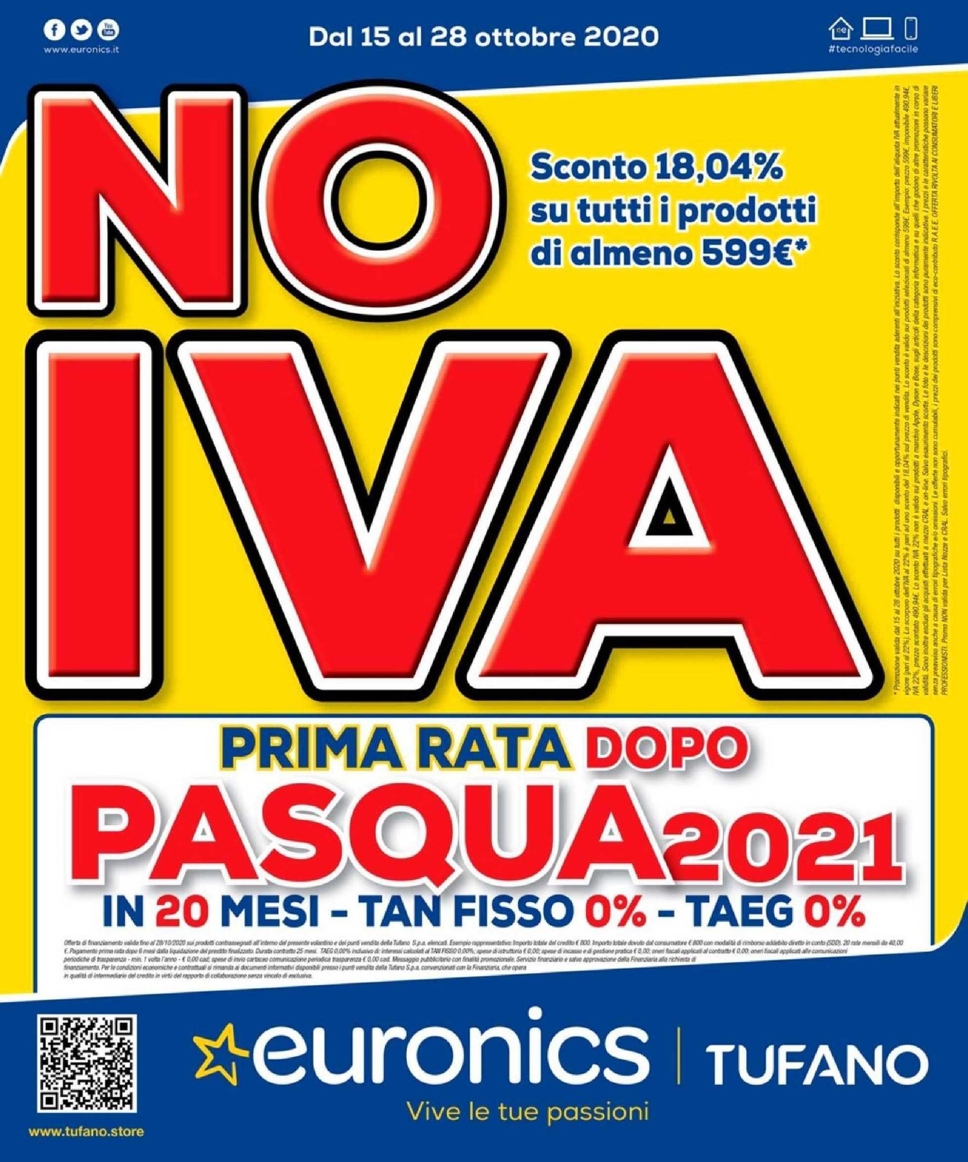 Euronics Tufano - offerte valide dal 15.10.2020 al 28.10.2020 - pagina 1.