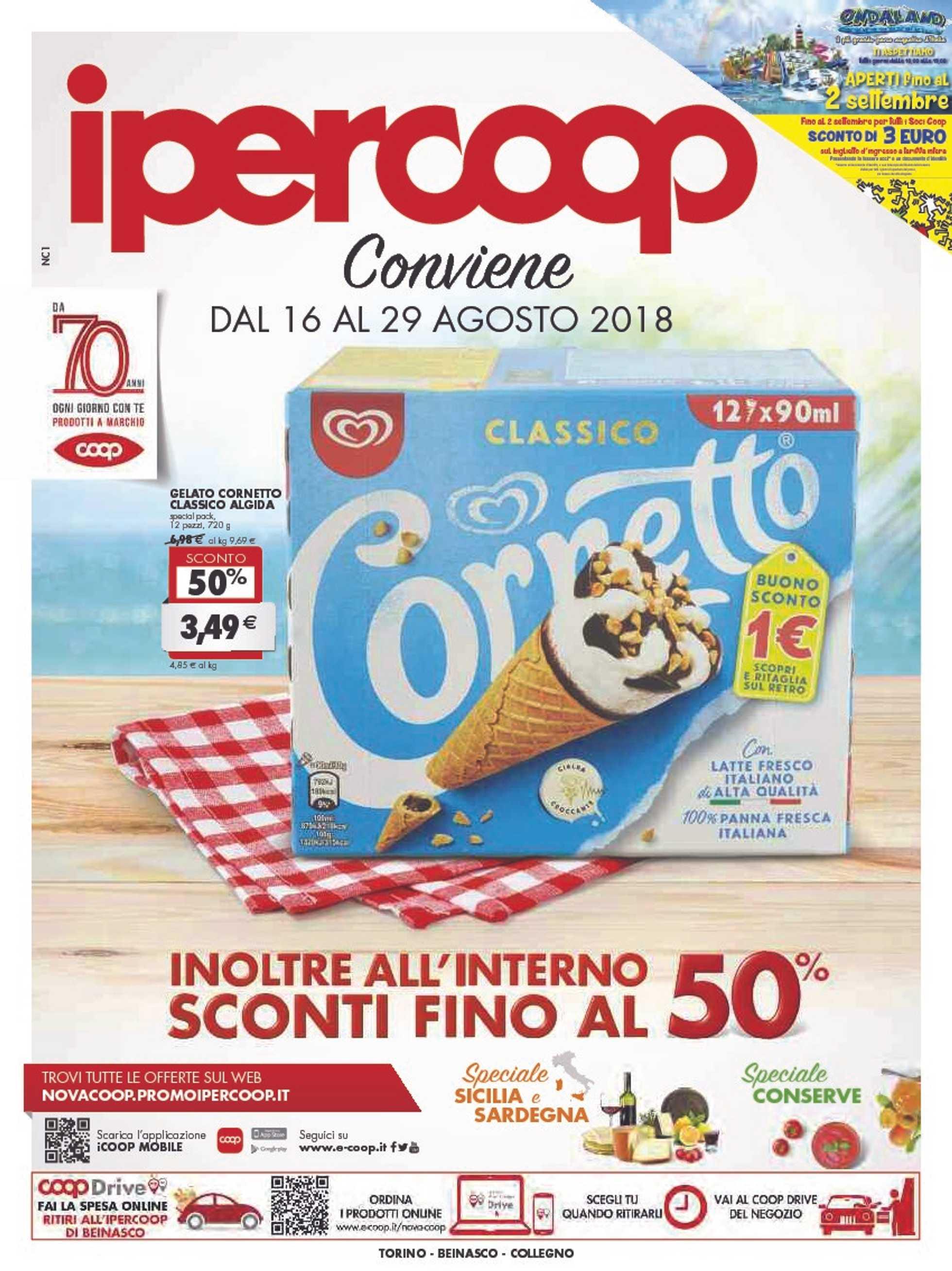 Ipercoop (Coop Alleanza) - offerte valide dal 16.08.2018 al 29.08.2018 - pagina 1.