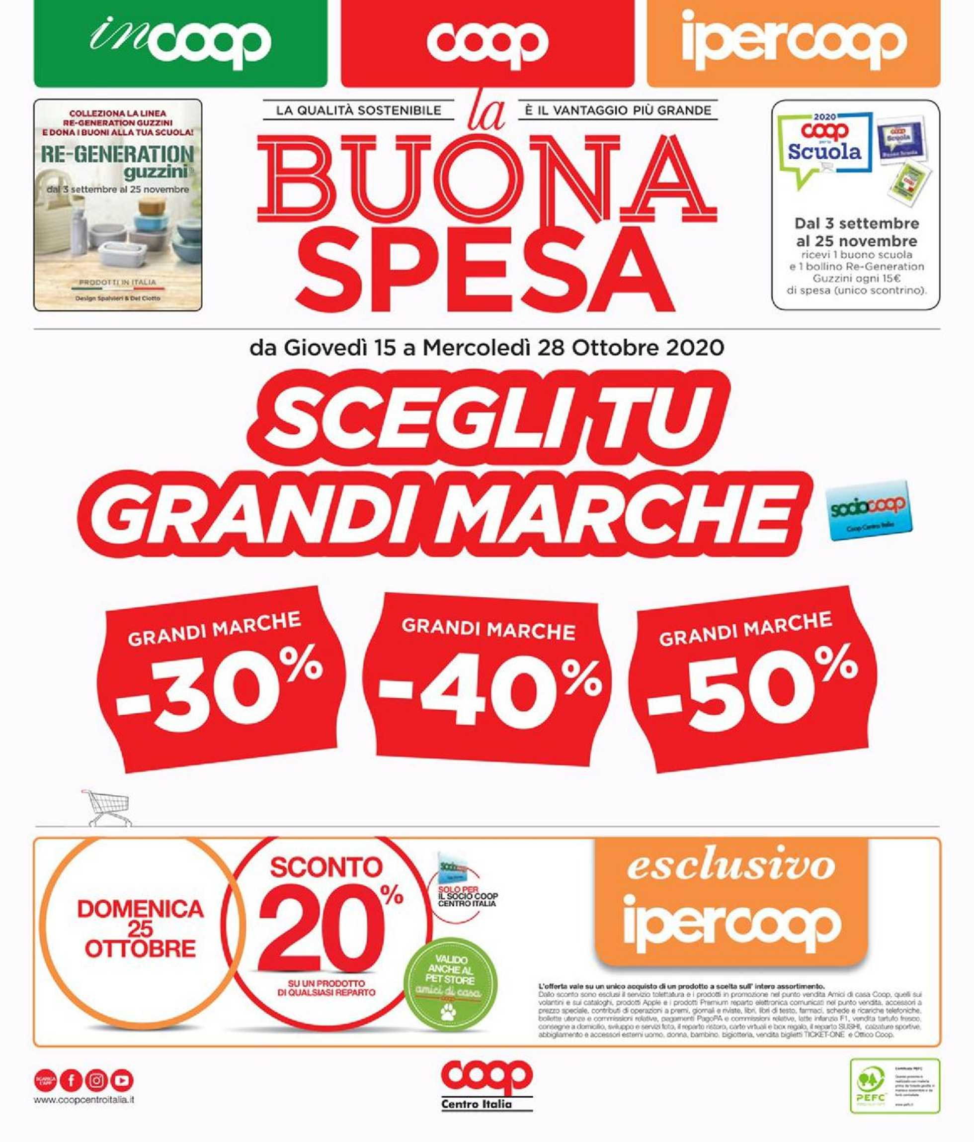 Coop Centro Italia - offerte valide dal 15.10.2020 al 28.10.2020 - pagina 1.