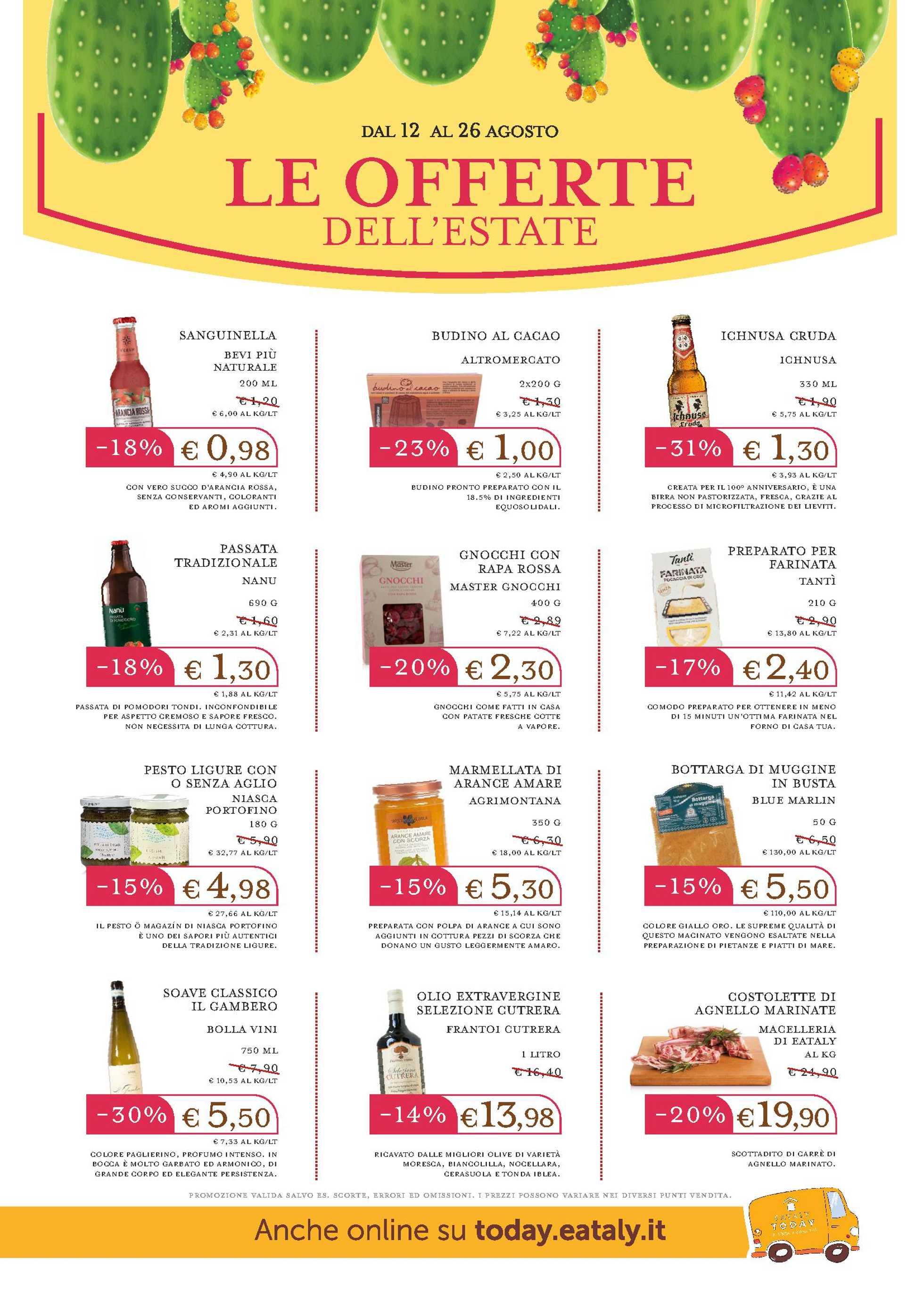 Eataly - offerte valide dal 12.08.2020 al 26.08.2020 - pagina 1.